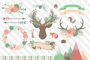 Chic Woodland Vector Clipart