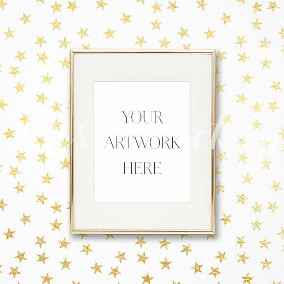 43082ebb4775 Gold Frame Mockup Stars ~ Product Mockups ~ Creative Market