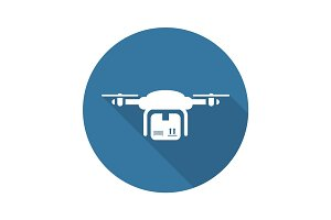 Drone Delivery Icon. Flat Design.