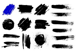 Set of black paint, ink brush strokes, brushes, lines.
