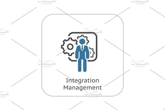 Integration Management Icon Flat Design
