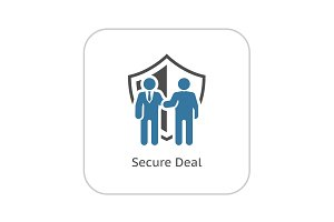 Secure Deal Icon. Flat Design.