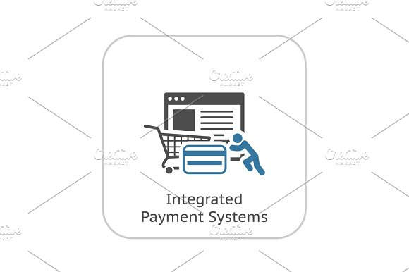 Integrated Payment Systems Icon Flat Design