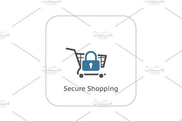 Secure  Shopping Icon. Flat Design.