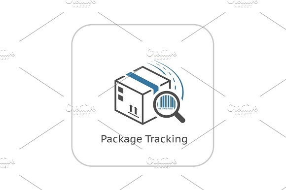 Package Tracking Icon Flat Design