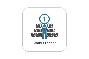Market Leader Icon. Business Concept. Flat Design.