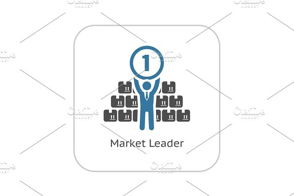 Market Leader Icon. Business Concept. Flat Design.