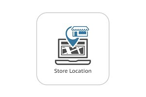 Store Location Icon. Flat Design.