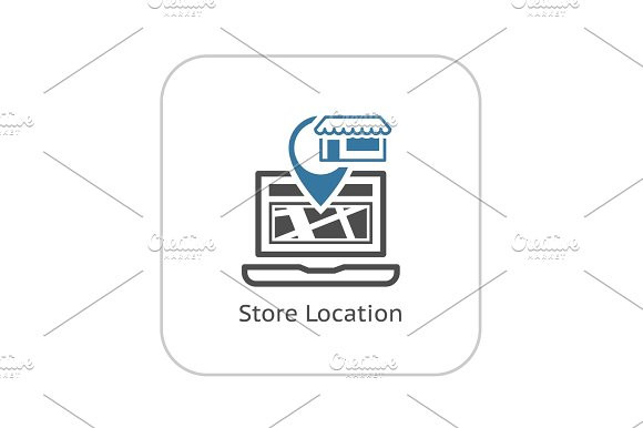 Store Location Icon. Flat Design.
