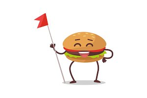 Happy Hamburger Cartoon Character