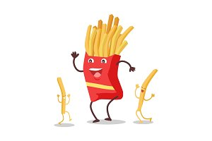Fries Dancing Isolated on White. Funny Food Dancing
