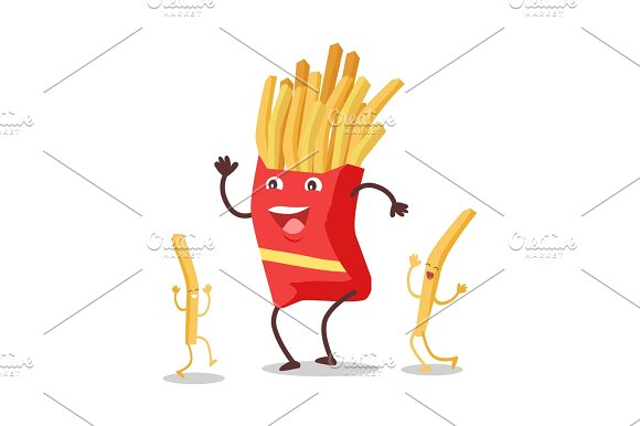 Fries Dancing Isolated On White Funny Food Dancing