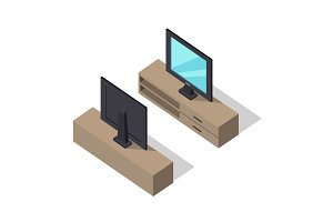 TV Set Vector Illustration in Isometric Projection