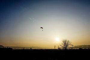 Sunset on paraglider