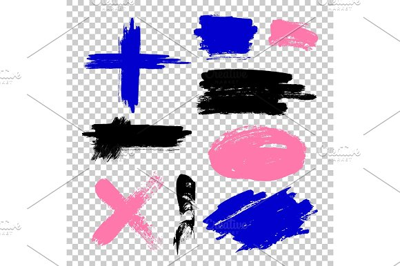 Set Of Paint Ink Brush Strokes Brushes Lines
