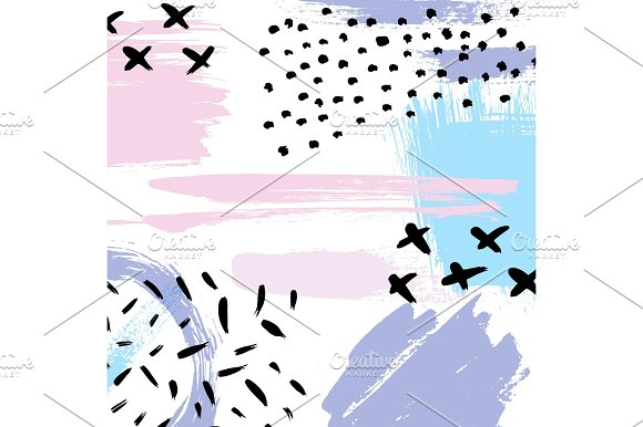 Hand Drawn Brush Hipster Pattern In Vector Stylish Geometric Brush Strokes Fantasy Print