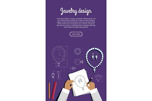 Jewerly Sketch Banner. Necklace and Earrings.