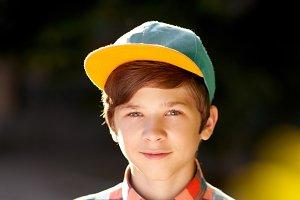 Stylish teen boy outdoors