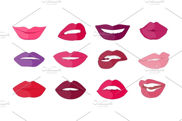Set Of Lips With Expression Emotions