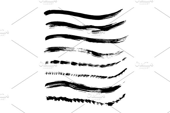 Set Of Black Paint Ink Brush Strokes Brushes Lines