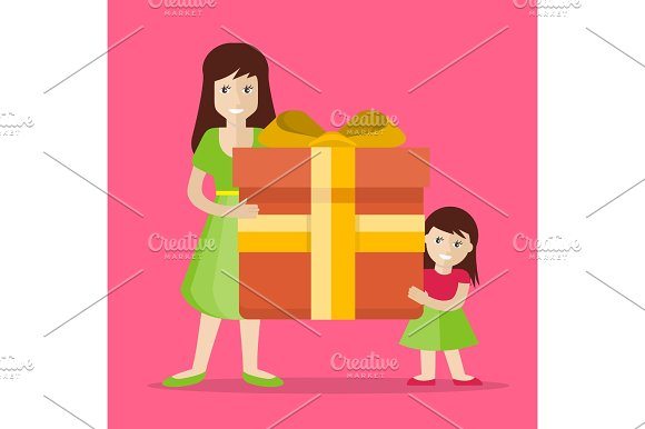 Mother And Daughter With Gift Flat Design Vector