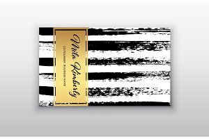 Black and Gold Design Business card. Abstract Modern Backgrounds.Brush stroke