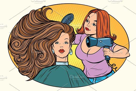 Blow Drying Women Hair Barber
