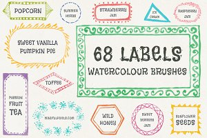 68 Label Watercolor Brushes