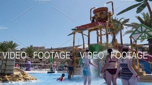 Timelapse Of People Having Fun In Water Park