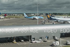 Timelapse of planes and vehicles traffic at Amsterdam Airport