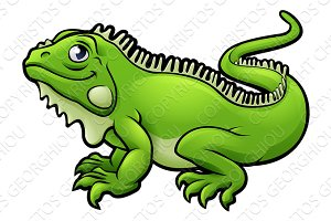 Iguana Lizard Cartoon Character