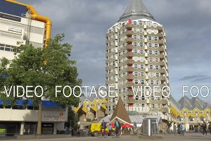 View of Pencil Tower and Cube Houses, Rotterdam, Netherlands