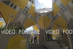 Looking at Cube Houses from bottom to top, Rotterdam