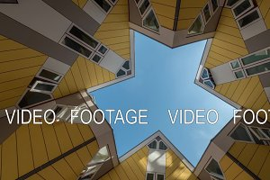 Timelapse of clouds in the sky among Cube Houses, Rotterdam
