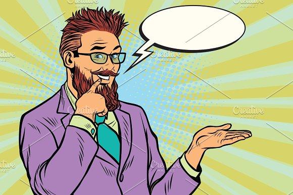 Smiling Bearded Hipster Promoter Gesture Of Businessman