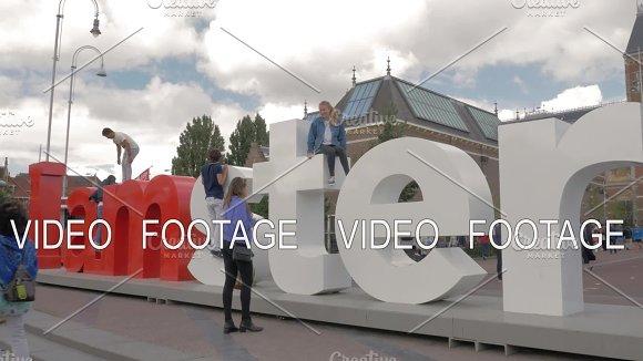 People At Popular Slogan I Amsterdam