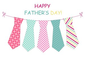 Festive retro garland with ties of primitive prints as greeting card for Father's day