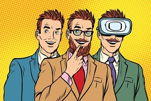 Band trendy retro businessmen, VR glasses