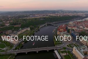 Aerial view along Vltava river in the summer. Prague, Czech Republic