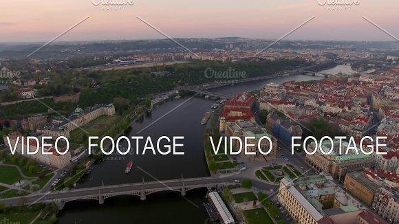 Aerial View Along Vltava River In The Summer Prague Czech Republic