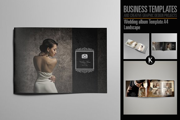 Wedding album template a4 templates creative market wedding album template a4 templates pronofoot35fo Gallery