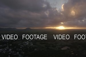 Sunset on Mauritius Island. Aerial view