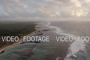 Aerial view of Mauritius coastal line and Indian Ocean