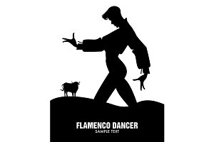 Spanish flamenco dancer and bull