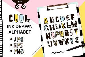 INK DRAWN ALPHABET