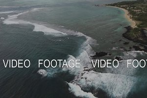 Ocean view and Mauritius landscape, aerial shot