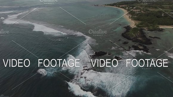 Ocean View And Mauritius Landscape Aerial Shot