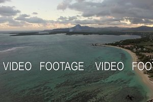 Aerial view of coast line of Mauritius Island