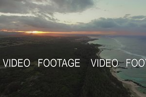 Flying along the coastline of Mauritius at sunset