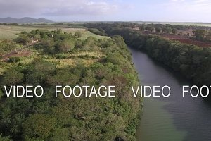 Flying over the river on Mauritius Island